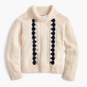 J. Crew Embellished Lace Cable Knit Sweater